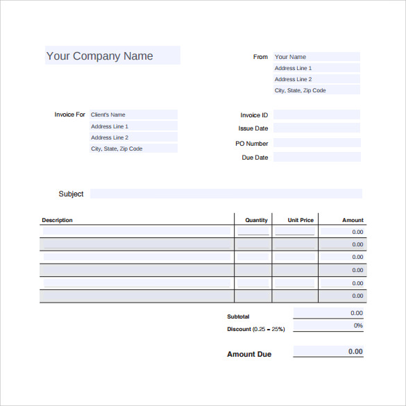 Sample Invoice Template Proforma Invoice Templates Download Free