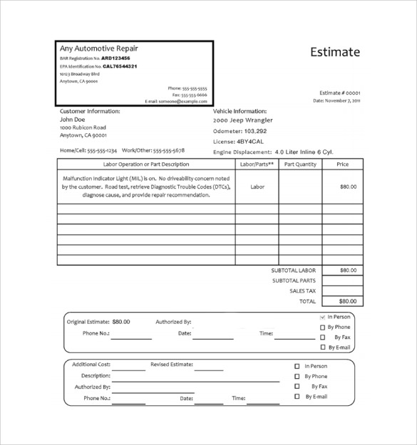 Any Auto Repair Invoice  Sample Auto Repair Invoice