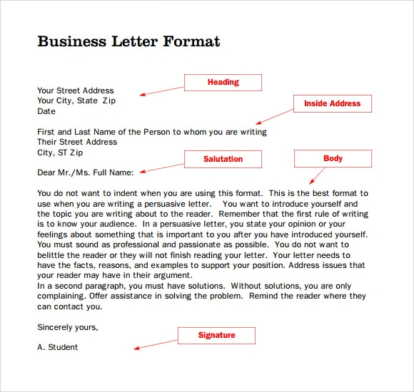 Business Letter Format U2013 7+ Download Documents In PDF , Word Sample U2026