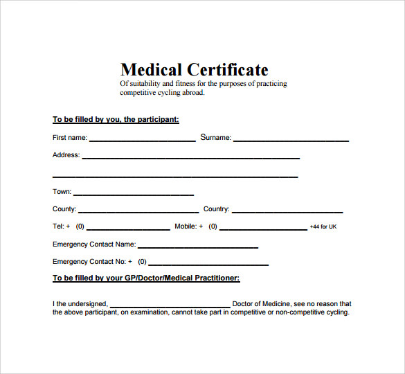 Medical Certificate   Download Free Documents In Pdf Word