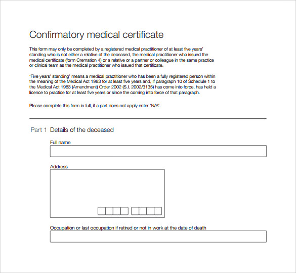 Medical Certificate 9 Download Free Documents In PDF Word – Medical Certificate Form