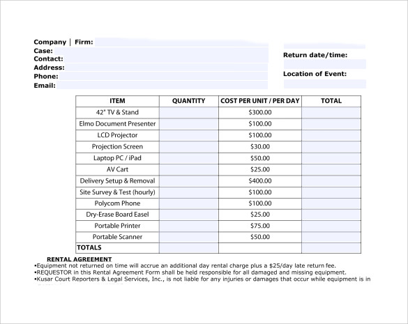 Sample Rent Invoice Templates   Download Free Documents In Pdf