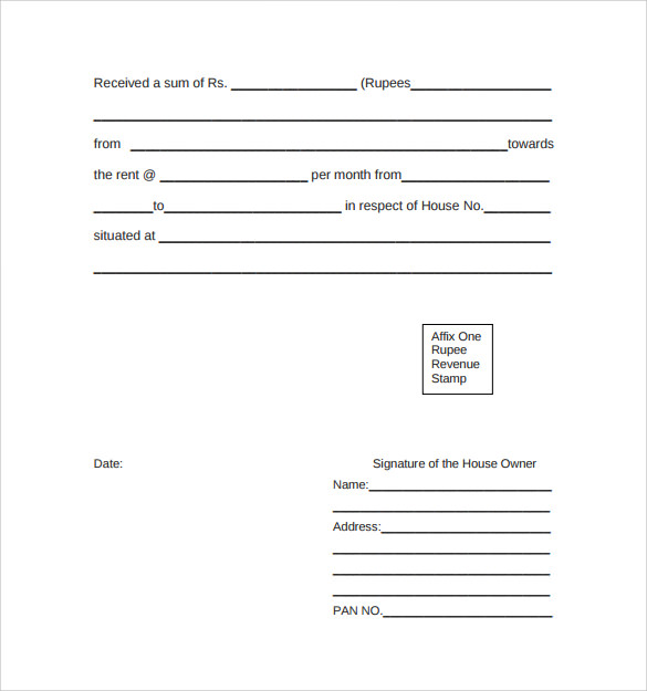 Doc585627 Receipt of House Rent Receipt For House Rent 83 – House Rent Receipt Doc