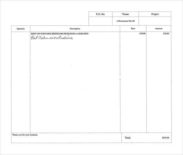 Sample Rental Invoice  Rent Invoice Form