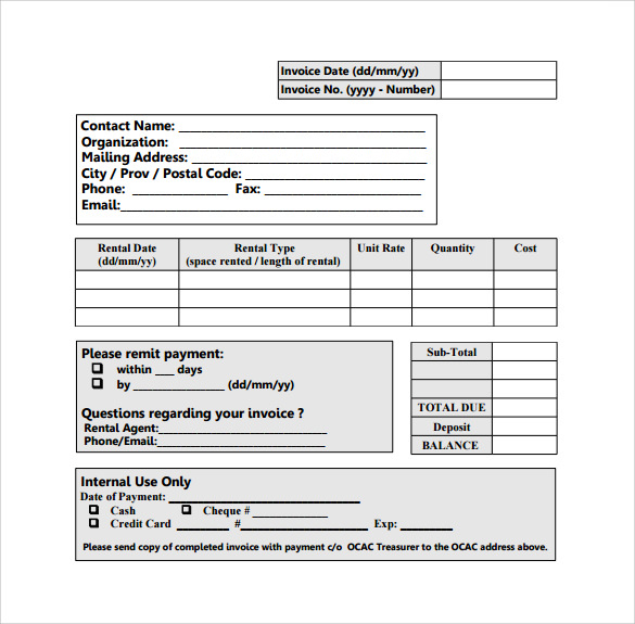 Sample Rent Invoice Templates To Download Sample Templates - Rent invoice template free