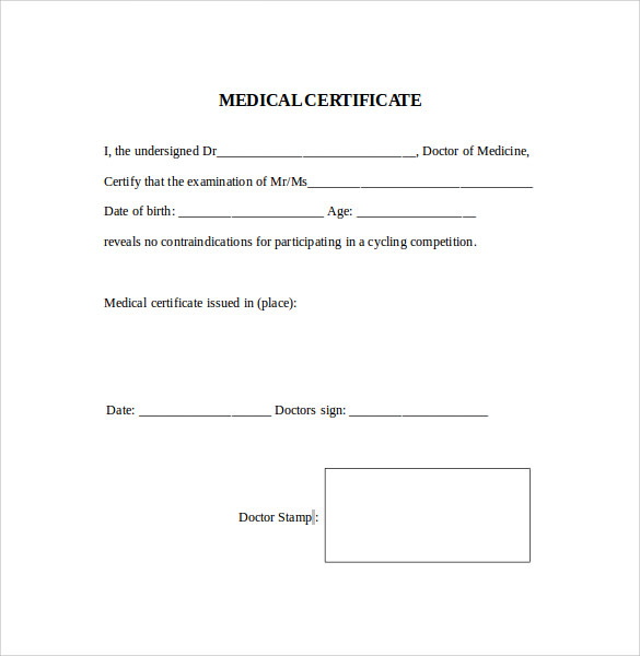 Medical Certificate - 9+ Download Free Documents In PDF, Word
