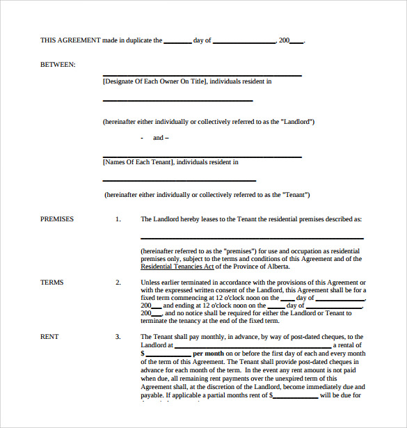 redential tenancy monthly rental agreement