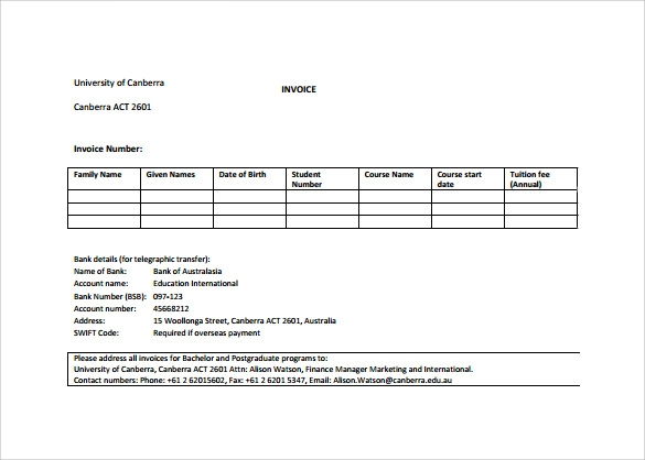 Sample Standard Invoice Template   Download Free Documents In