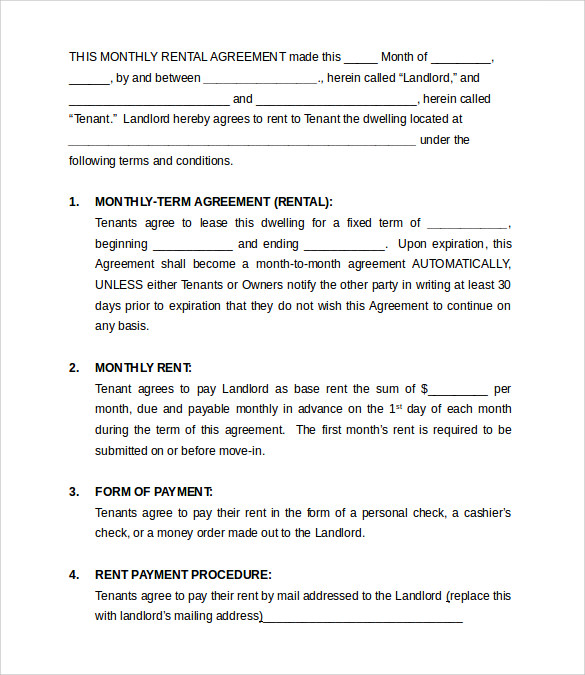 Monthly Rental Agreement Templates   Download Free Documents In