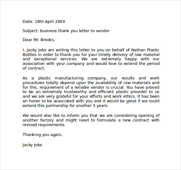 business personal thank you letter format