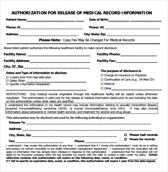 authorization for realease of medical form