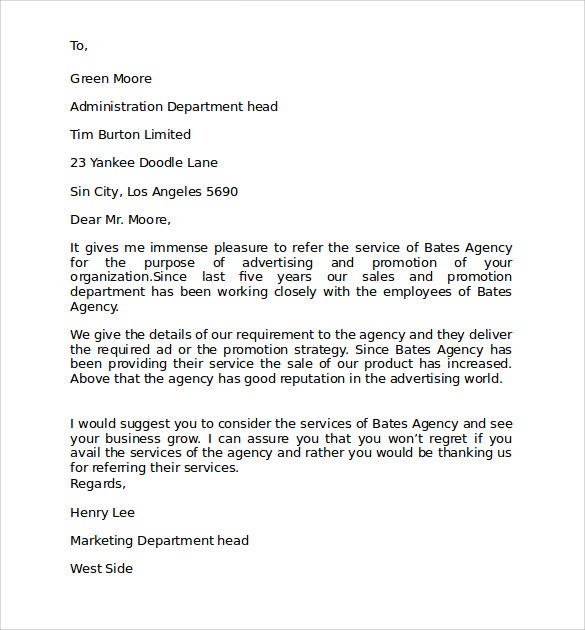 business personal referral letter