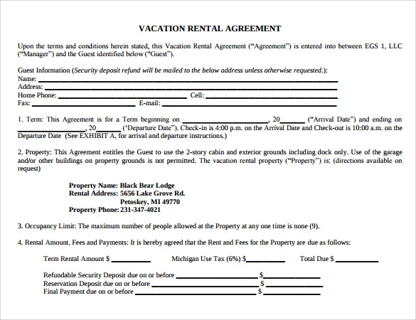 Sample Vacation Rental Agreement   Free Documents In Pdf Word