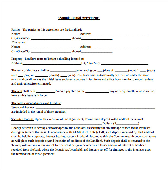 7 Generic Rental Agreement Templates To Download Sample