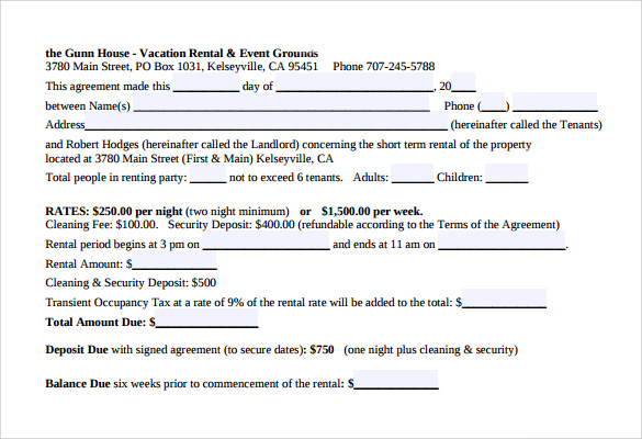 example of vacation rental agreement1