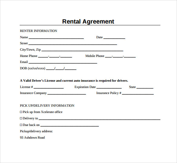 Sample Generic Rental Agreement   Free Documents In Pdf Word