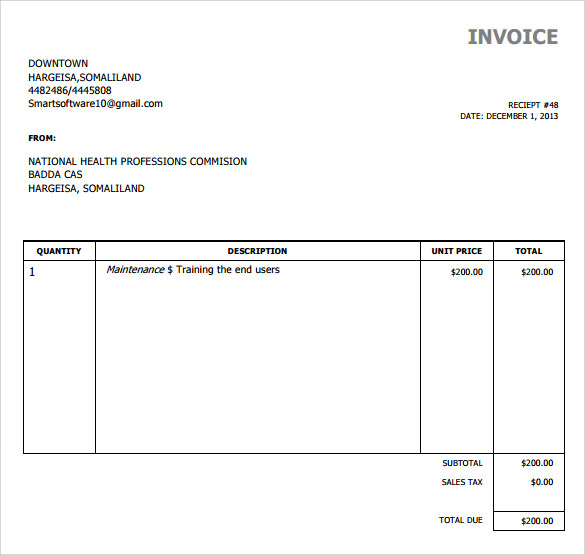 Sample simple invoice template 9 download free for Free invoice template simple blank invoice