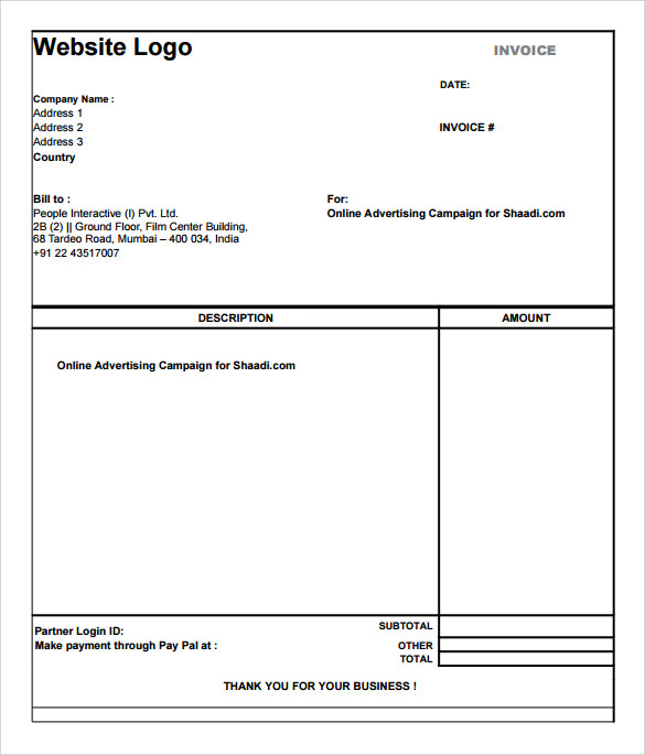 sample simple invoice template