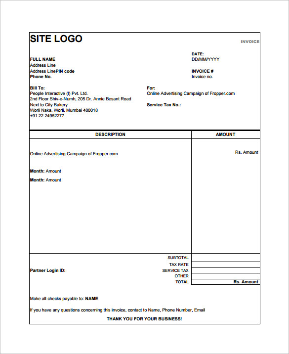 Simple Sales Invoice Template Images Simple Sales Invoice - Free invoice template with sales tax