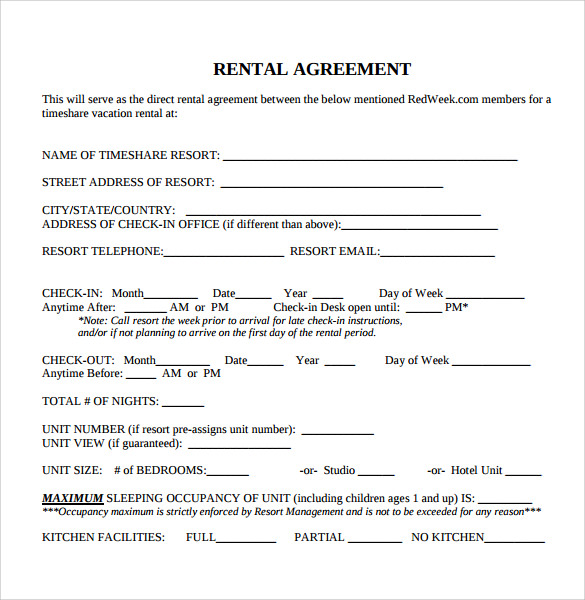 Sample Blank Rental Agreement 8 Free Documents in PDF Word – Printable Rental Agreement Template