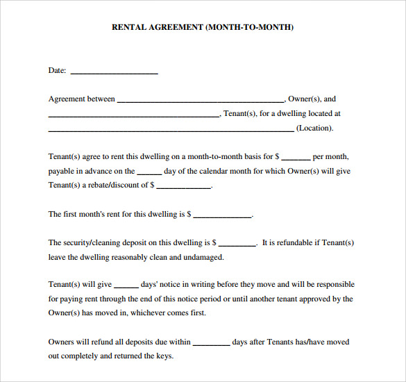 Sample Blank Rental Agreement   Free Documents In   Word