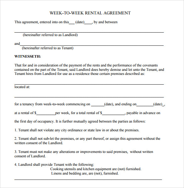 free 8  sample blank rental agreement templates in pdf