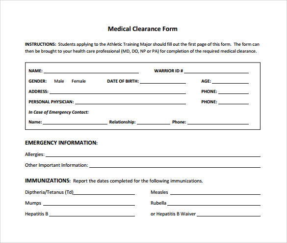 Sample Medical Clearance Form   Download Free Documents In Pdf Word