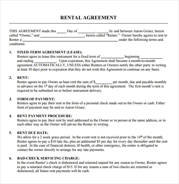 Sample Blank Rental Agreement 8 Free Documents in PDF Word – Free Rental Contracts