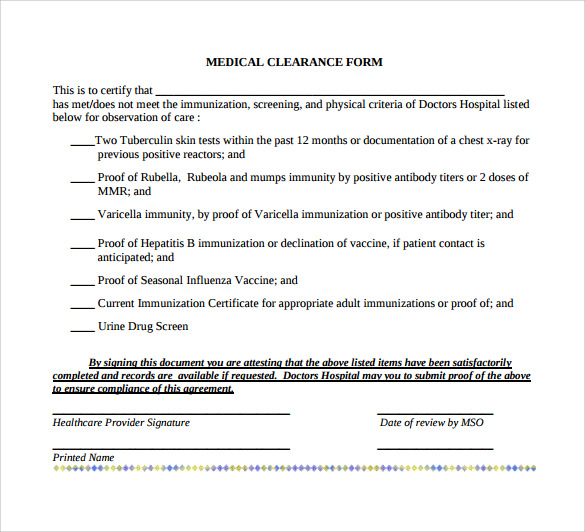 Example Of Medical Clearance Form