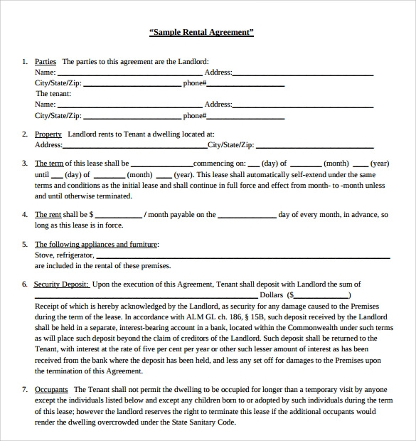 Blank Rental Lease Agreement Forms