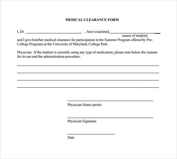 Employee Clearance Form Sample Medical Clearance Forms Medical