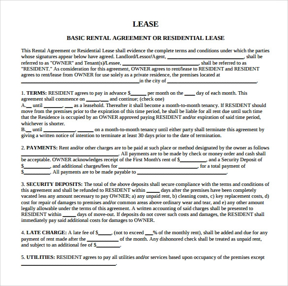 Sample Blank Rental Agreement 8 Free Documents in PDF Word – Sample Rental Agreement Word Document
