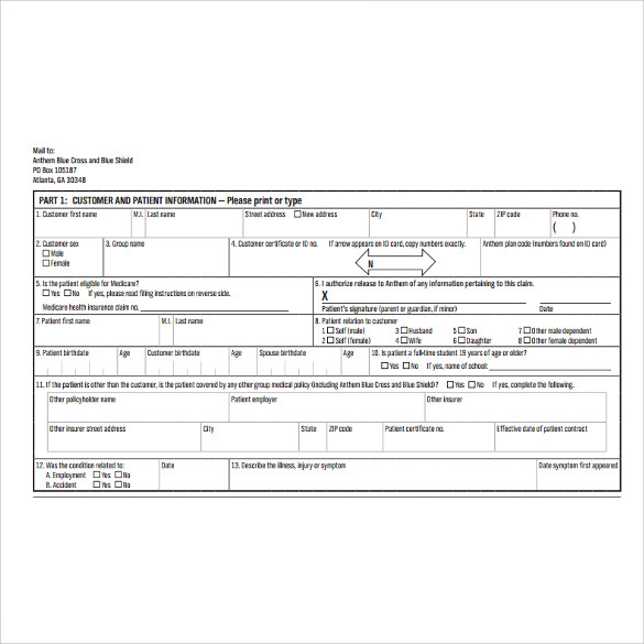 7 Medical Claim Forms Download for free | Sample Templates