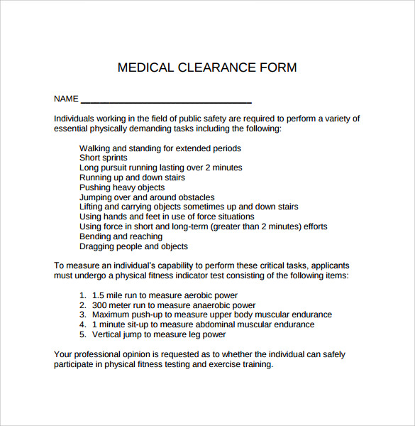 Sample Medical Clearance Form 8 Download Free Documents
