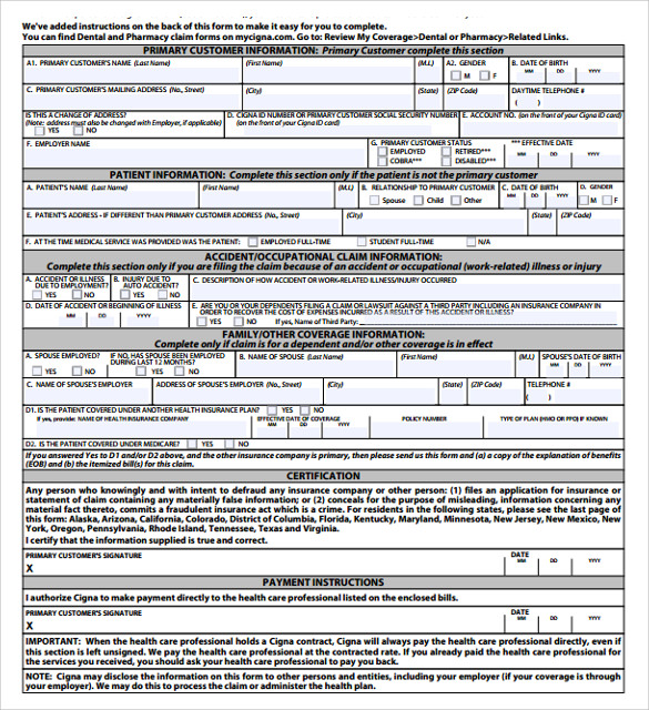 sample medical claim forms