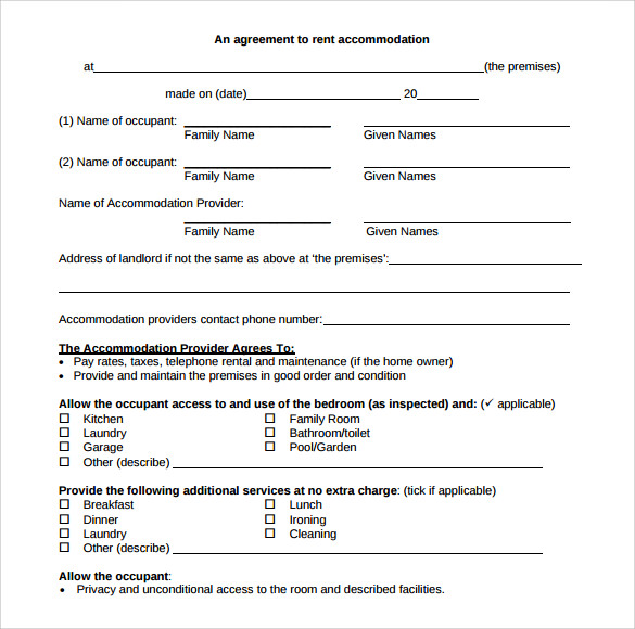 Sample Blank Rental Agreement 8 Free Documents in PDF Word – Rent a Room Contract