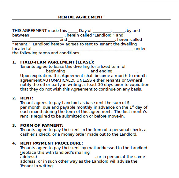 sample blank rental agreement