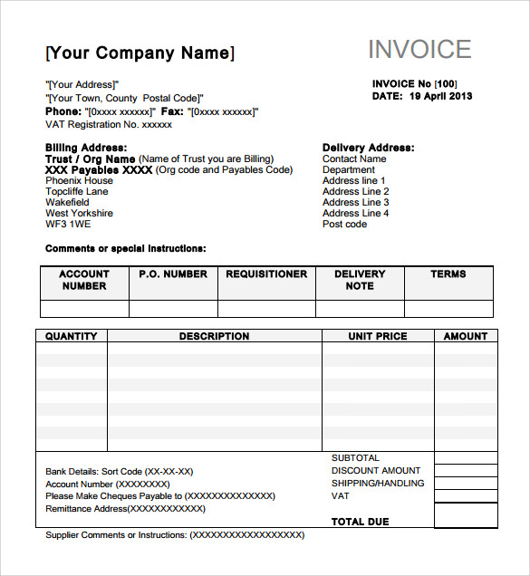 Indesign Invoice Templates To Download Sample Templates - Invoice with bank details