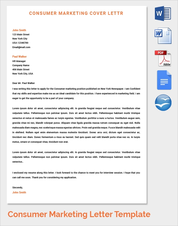 consumer marketing cover letter template