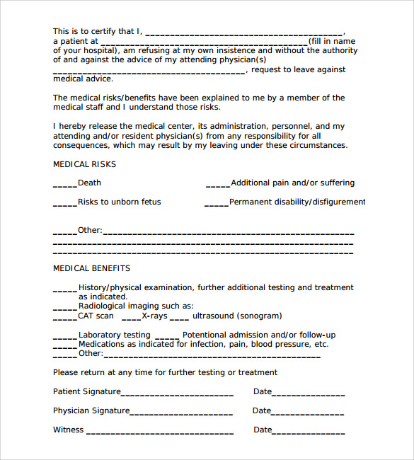 Sample Medical Advice Forms 7 Documents Download IN PDF WORD – Sample Against Medical Advice Form