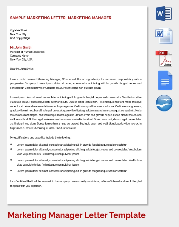 marketing manager cover letter template