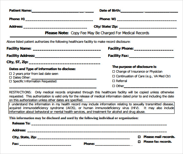 Sample Medical Records Release Form - 9+ Download Free