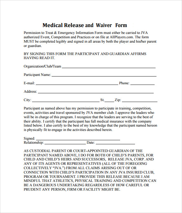 Sample Medical Waiver Form   Download Free Documents In Pdf Word