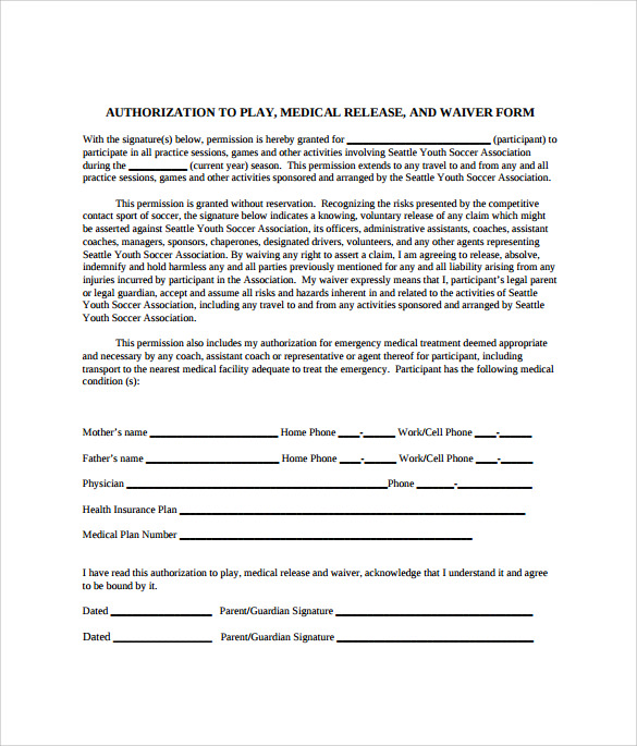 sample medical waiver form