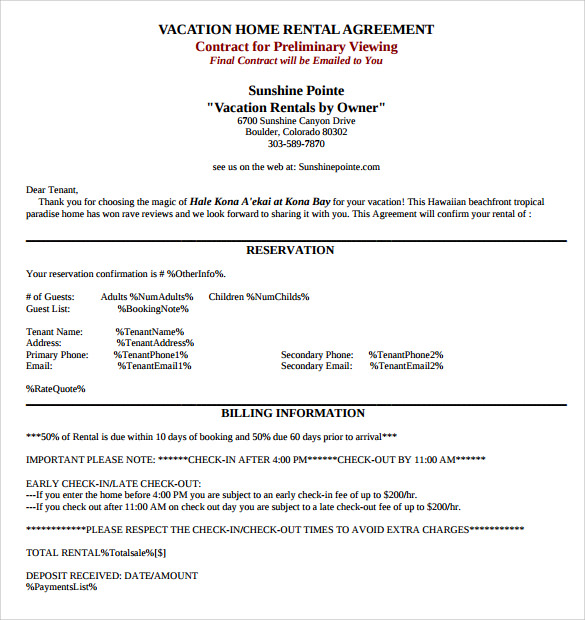 7 Sample Home Rental Agreement Templates