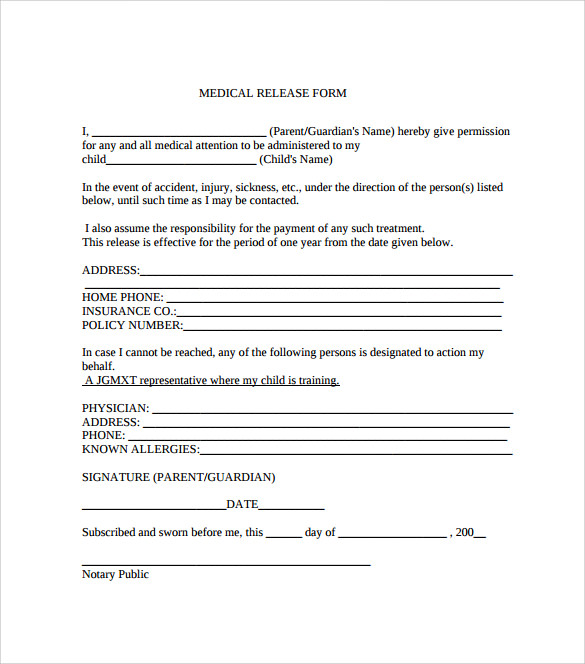 Dental Release Form Sample Medical Release Form Free Documents In