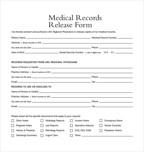 image about Free Printable Medical Records Release Form referred to as Pattern Professional medical Documents Launch Style - 9+ Down load Free of charge