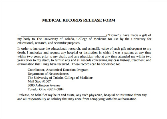 Hospital Release Form Patient Information Medical Release Form