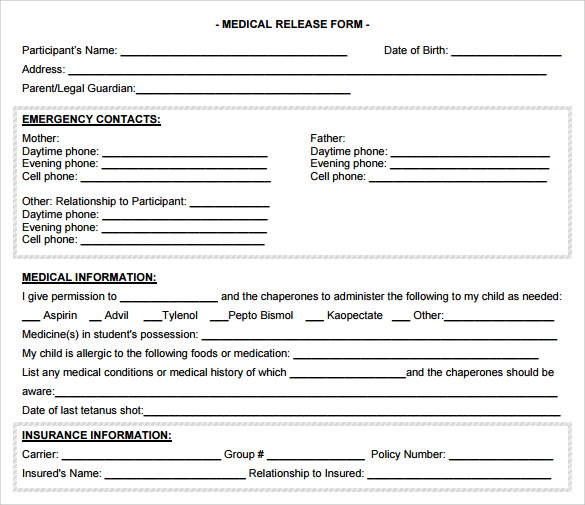 free download medical release form
