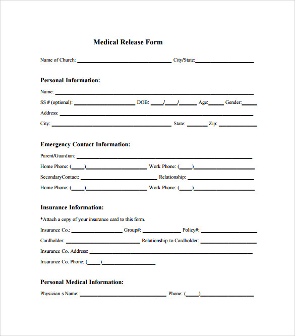 11 medical release forms sample templates. Black Bedroom Furniture Sets. Home Design Ideas